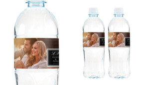 A Photo With Square Wedding Water Bottle Stickers (Set of 5)