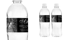 Add A Photo - Black Wedding Water Bottle Stickers (Set of 5)