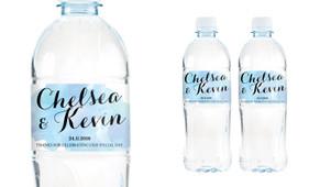 A Splash Of Watercolour - Blue Wedding Water Bottle Stickers (Set of 5)