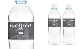 Flowing Words Chalkboard Wedding Water Bottle Stickers (Set of 5)