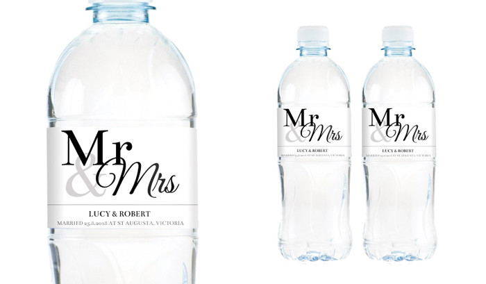 Mr And Mrs Announcement Wedding Water Bottle Stickers (Set of 5)