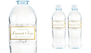 Marble And Gold Wedding Water Bottle Stickers (Set of 6)