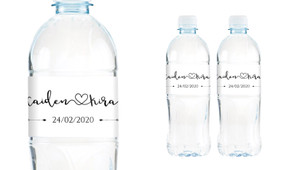 Cursive Names Wedding Water Bottle Stickers (Set of 5)