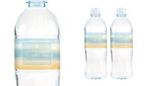Beach Watercolour Wedding Water Bottle Stickers (Set of 5)