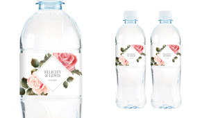 Rose Diamond Wedding Water Bottle Stickers (Set of 5)