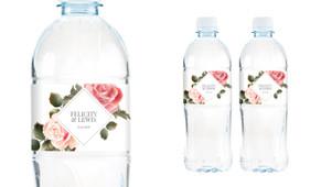 Rose Diamond Wedding Water Bottle Stickers (Set of 6)