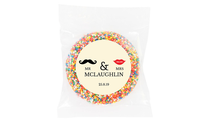 Mr & Mrs Off White Personalised Giant Chocolate Freckles