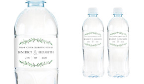 Green Branches Wedding Water Bottle Stickers (Set of 5)
