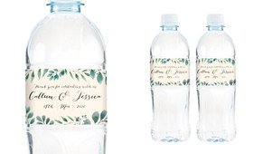 Branches On Cream Wedding Water Bottle Stickers (Set of 5)
