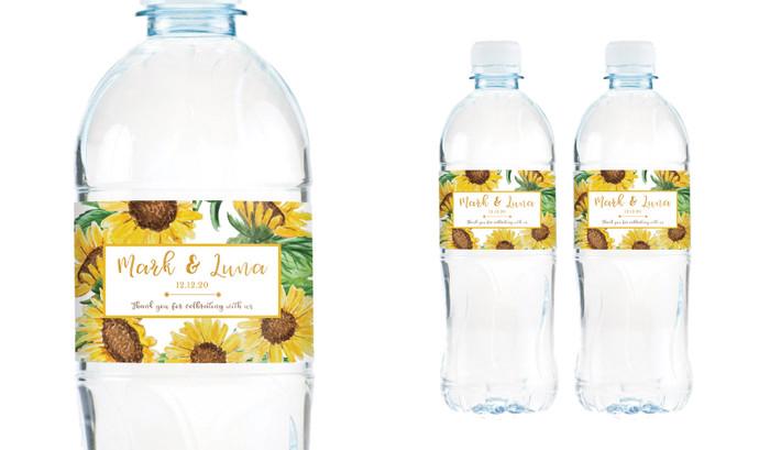 Sunflower Wedding Water Bottle Stickers (Set of 5)