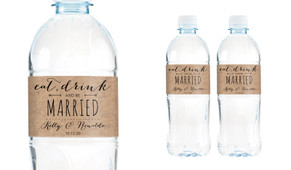 Eat Drink Be Married Wedding Water Bottle Stickers (Set of 5)