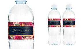 Bold Floral Wedding Water Bottle Stickers (Set of 5)