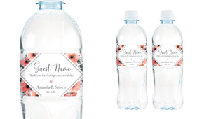 Coral Flowers Wedding Water Bottle Stickers (Set of 5)