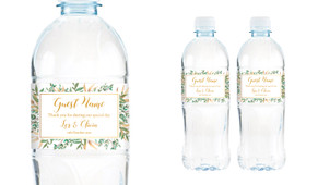 Leaves On Gold Wedding Water Bottle Stickers (Set of 5)