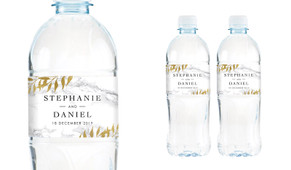 Marble And Fern Wedding Water Bottle Stickers (Set of 5)