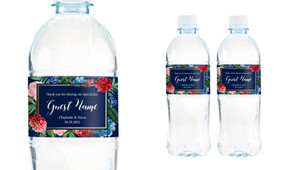 Floral Frame On Navy Wedding Water Bottle Stickers (Set of 5)