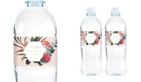 Wild Flowers Light Wedding Water Bottle Stickers (Set of 5)
