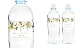 White Roses Hanging Wedding Water Bottle Stickers (Set of 5)