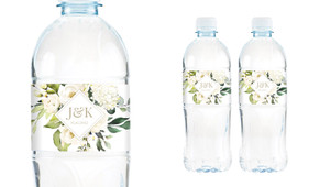 Diamond On Roses Wedding Water Bottle Stickers (Set of 5)
