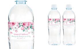 Falling Petals Wedding Water Bottle Stickers (Set of 5)