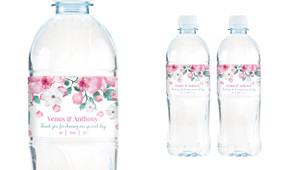 Falling Petals Wedding Water Bottle Stickers (Set of 6)