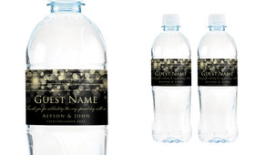 Gold Lights Wedding Water Bottle Stickers (Set of 5)