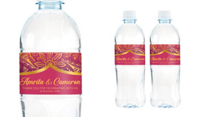 Regal Pink And Gold Wedding Water Bottle Stickers (Set of 5)