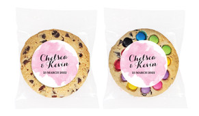 A Splash Of Watercolour - Pink Personalised Wedding Cookie