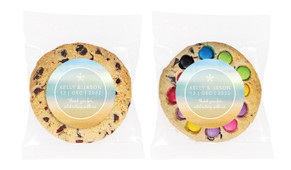 Beach Watercolour Personalised Wedding Cookie