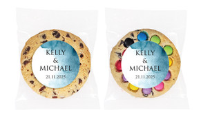 Blue Shade Personalised Wedding Cookie