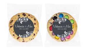 Classic Grey Floral Personalised Wedding Cookie