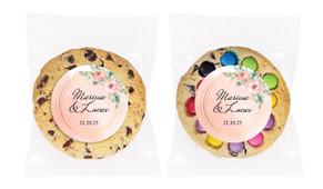 Gold Rings On Peach Personalised Wedding Cookie