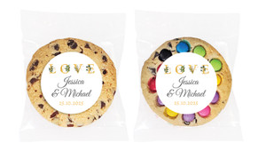 L-O-V-E Flowers Personalised Wedding Cookie