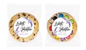 Lavender Flowers Personalised Wedding Cookie