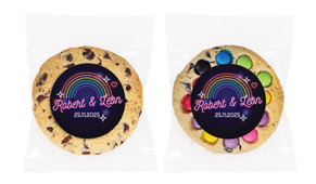 Neon Rainbow Personalised Wedding Cookie