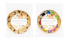 Peach And Bronze Floral Personalised Wedding Cookie