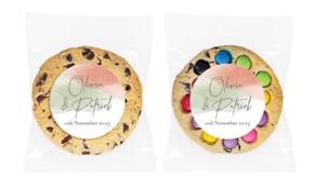 Sage And Blush Confetti Personalised Wedding Cookie