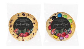 Wild Flowers Dark Personalised Wedding Cookie