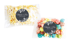 Classic Grey Floral Personalised Popcorn Bag