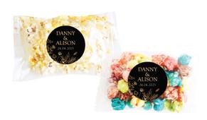 Flowers On Black Personalised Popcorn Bag