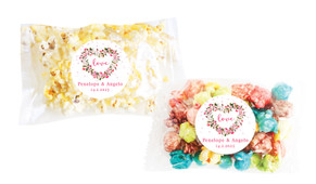 Heart Shaped Floral Personalised Popcorn Bag