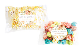 Peach And Bronze Floral Personalised Popcorn Bag