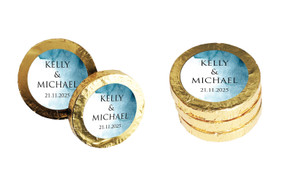 Blue Shade Wedding Chocolate Coins (Gold Or Silver)