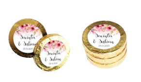 Cascading Flowers Wedding Chocolate Coins (Gold Or Silver)