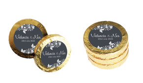 Classic Grey Floral Wedding Chocolate Coins (Gold Or Silver)