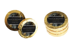 Contemporary Palms Wedding Chocolate Coins (Gold Or Silver)