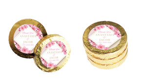 Diamond On Cherry Blossom Wedding Chocolate Coins (Gold Or Silver)