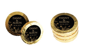 Flowers On Black Wedding Chocolate Coins (Gold Or Silver)