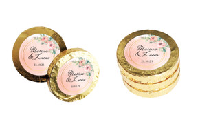 Gold Rings On Peach Wedding Chocolate Coins (Gold Or Silver)