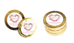 Heart Shaped Floral Wedding Chocolate Coins (Gold Or Silver)